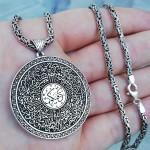 Kişiye Özel Mührü Süleyman ve Ayetel Kürsü Yazılı Madalyon Kolye ve 55 cm Kral Zincir