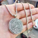925 Ayar Gümüş Rufai Gülü Madalyon Kolye ve 55 cm Kral Zincir