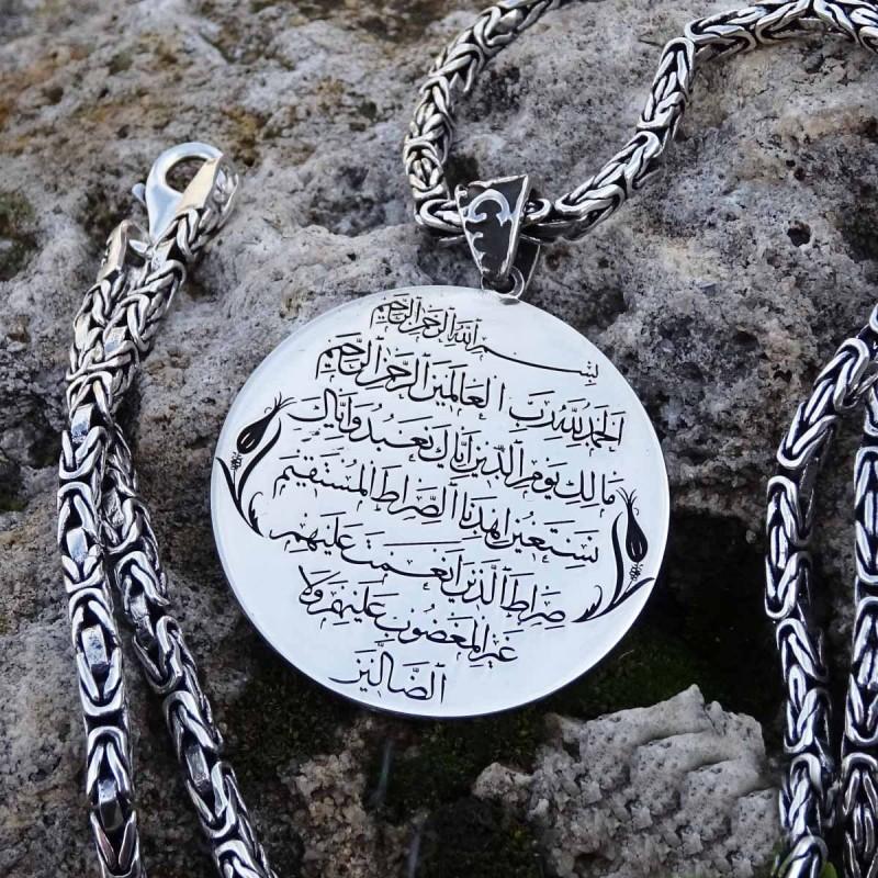 Kişiye Özel Fatiha Suresi Yazılı Gümüş Madalyon Kolye