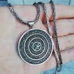 Kişiye Özel Haşr Suresi ve Hz. Muhammed Yazılı Madalyon Kolye ve 55 cm Kral Zincir