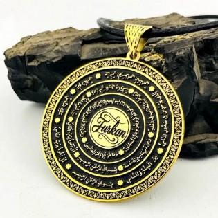 Kişiye Özel Nazar Duaları Yazılı Altın Rengi Gümüş Madalyon Kolye