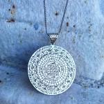 Tılsım Vefkli Ayetel Kürsi Dualı Madalyon Gümüş Kolye