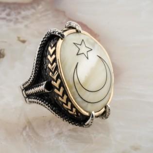 Sedef Taşlı Kartal Pençesi Ay Yıldız Gümüş Yüzük