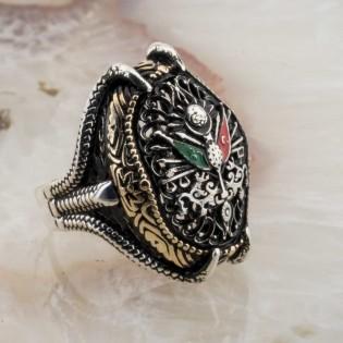 Kartal Pençesi Osmanlı Tuğrası Gümüş Yüzük