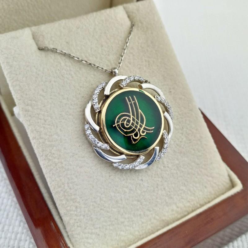 925 Ayar Gümüş Rüzgar Gülü Motifli Zirkon Taşlı Yeşil Mineli Osmanlı Tuğrası Kolye