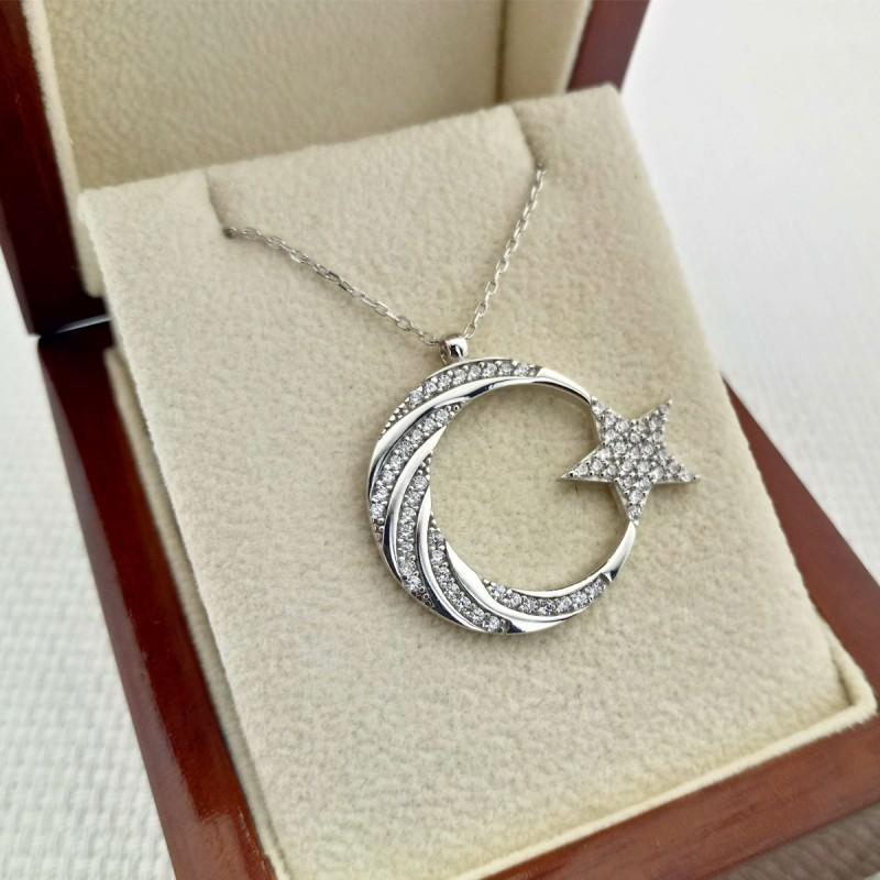 925 Ayar Gümüş Burgu Taş İşlemeli Ay Yıldız Gümüş Kolye