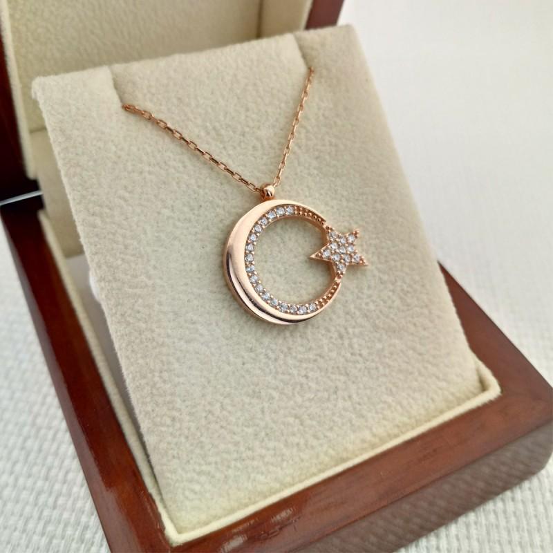 925 Ayar Gümüş Zirkon Taşlı Rose Ay Yıldız Gümüş Kolye