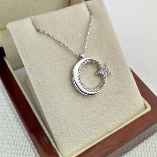 925 Ayar Gümüş Zirkon Taşlı Ay Yıldız Gümüş Kolye