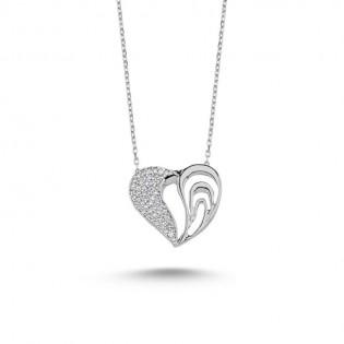 925 Ayar Gümüş Beyaz Zirkon Taşlı Kalp Kolye