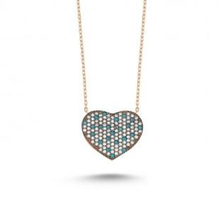 925 Ayar Gümüş Mavi Beyaz Zirkon Taşlı Kalp Kolye