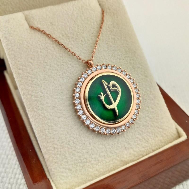 925 Ayar Gümüş Zirkon Taşlı Rose Renk Yeşil Mineli Elif Vav Kolye
