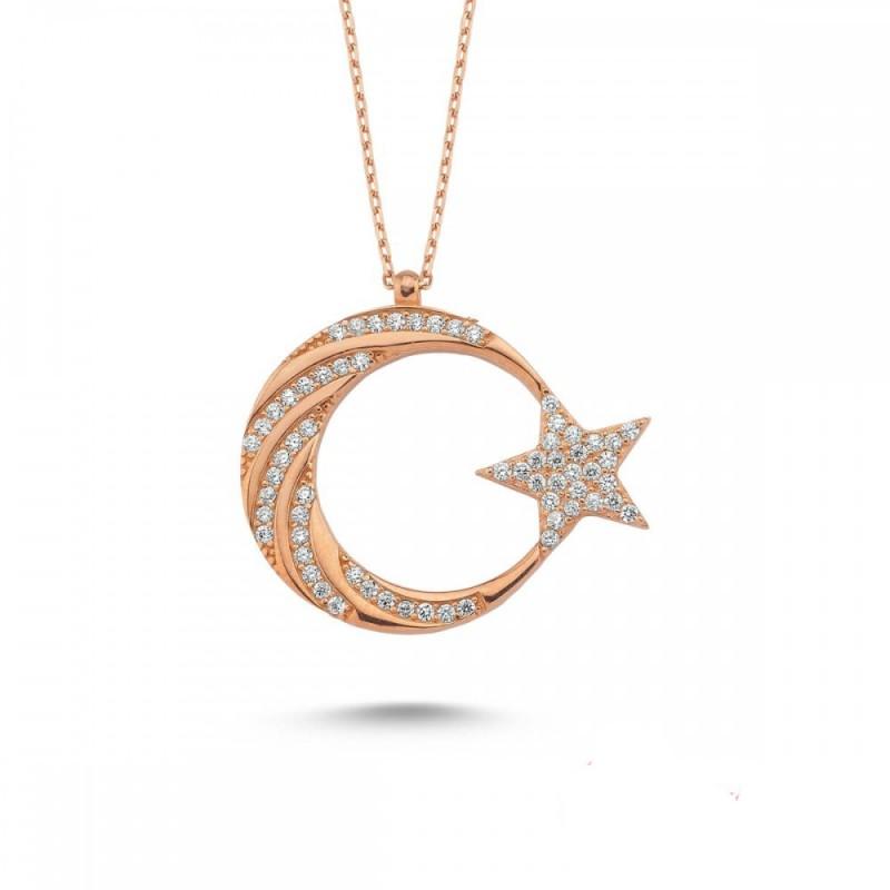 925 Ayar Gümüş Rose Renk Zirkon Taşlı Ay Yıldız Gümüş Kolye
