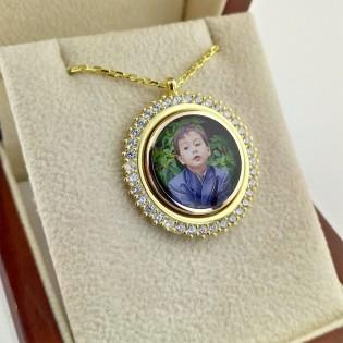 925 Ayar Gümüş Zirkon Taşlı Sarı Renk Fotoğraflı Kolye
