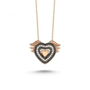 925 Ayar Gümüş Melek Kanatlı Kalp Kolye