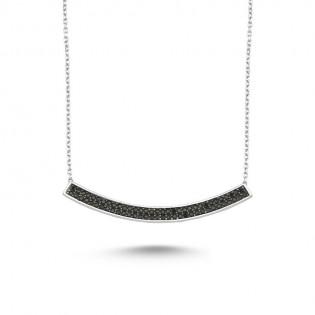925 Ayar Gümüş Siyah Zirkon Taşlı Çubuk Kolye