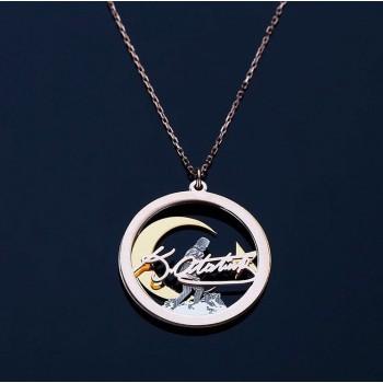 3 Parça Atatürk İmzalı Rose Ay Yıldız Gümüş Kolye