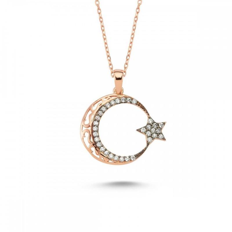 925 Ayar Gümüş Zirkon Taşlı Ay Yıldız Kolye