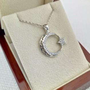 925 Ayar Gümüş İşlemeli Ay Yıldız Gümüş Kolye