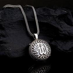 925 Ayar Gümüş Allah Lafzı Yazılı Erkek Muska Kolye ve 55 cm Popcorn Zincir