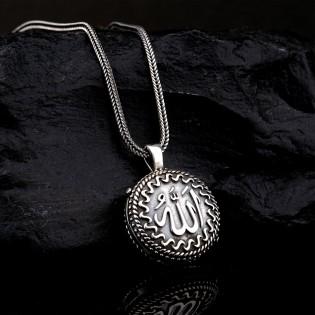 925 Ayar Gümüş Allah Lafzı Yazılı Muska Kolye ve 55 cm Popcorn Zincir