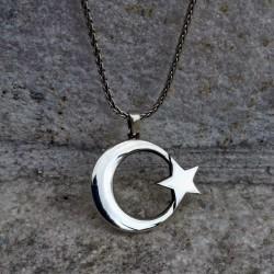 Ay Yıldız Erkek Gümüş Kolye - 55 cm Gümüş Zincir