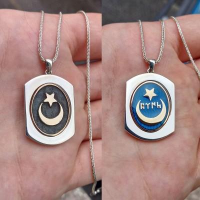 925 Ayar Gümüş Mavi Mineli Ay Yıldız İşlemeli Çift Taraflı Erkek Kolye