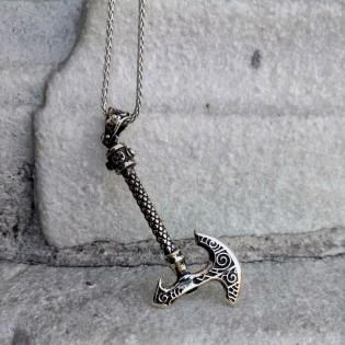 925- Ayar Gümüş Balta Figürlü Erkek Kolye