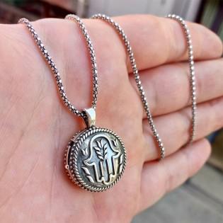 925 Ayar Gümüş Fatma'nın Eli  İşlemeli Muska Kolye ve 55 cm Popcorn Zincir
