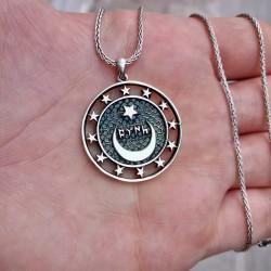 925 Ayar Gümüş Gök Türkçe Türk Yazılı Erkek Kolye ve 55 cm Zincir