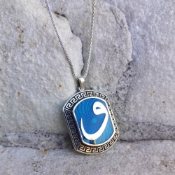 925 Ayar Gümüş Vav Yazılı Kolye ve 55 cm Gümüş Zincir