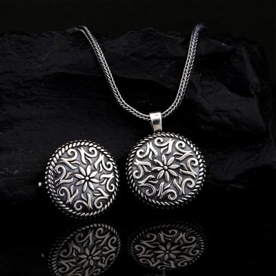 925 Ayar Gümüş Osmanlı Tuğrası İşlemeli Muska Kolye ve 55 cm Popcorn Zincir