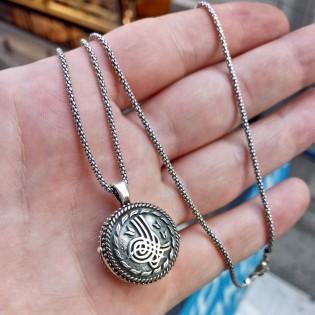 925 Ayar Gümüş Osmanlı Tuğrası İşlemeli Erkek Muska Kolye ve 55 cm Popcorn Zincir