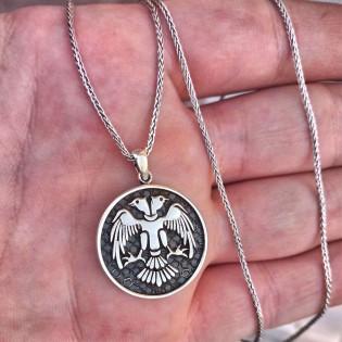 925 Ayar Gümüş Selçuklu Kartalı Motifli Erkek Kolye