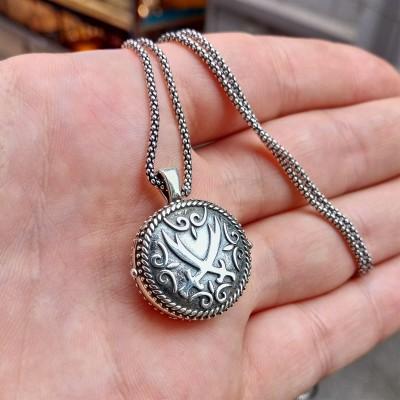 925 Ayar Gümüş Zülfikar İşlemeli Erkek Muska Kolye ve 55 cm Popcorn Zincir