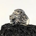 925 Ayar Gümüş 3 Boyutlu Kükreyen Aslan Yüzük