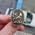 925 Ayar Gümüş 3 Boyutlu 3 Hilal Bozkurt Erkek Yüzük