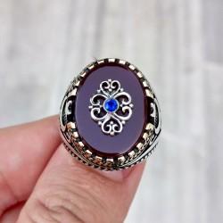 925 Ayar Gümüş Akik Taşlı Mavi Zirkon Taş İşlemeli Erkek Yüzük