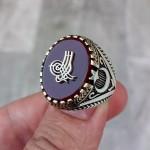 925 Ayar Gümüş Akik Taşlı Osmanlı Tuğra İşlemeli Erkek Yüzük