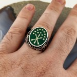925 Ayar Gümüş Yeşil Mineli Çerkez Bayrağı İşlemeli Erkek Yüzük