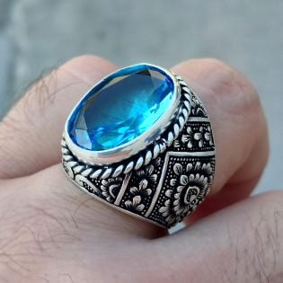 925 Ayar Gümüş Mavi Topaz Taşlı Çiçek Motif İşlemeli Erkek Yüzük