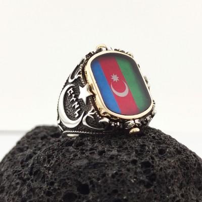 925 Ayar Gümüş Azerbaycan Bayraklı Çift Taraflı Fotoğraflı Yüzük