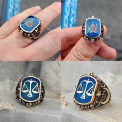 925 Ayar Gümüş Osmanlı Arması ve Adalet Terazisi Çift Taraflı Erkek Yüzük