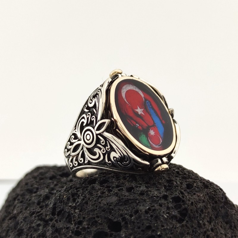 925 Ayar Gümüş Azerbaycan Bayraklı Çift Taraflı Oval Tasarım Fotoğraflı Yüzük
