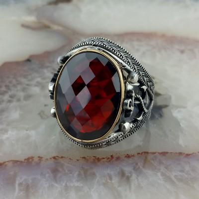 925 Ayar Gümüş Kırmızı Taşlı  Denizci Çıpası İşlemeli Erkek Yüzük