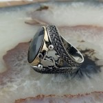 925 Ayar Gümüş Siyah Taşlı  Denizci Çıpası İşlemeli Erkek Yüzük