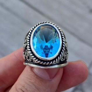 925 Ayar Gümüş Mavi Topaz Yaprak Motif İşlemeli Erkek Yüzük