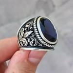 925 Ayar Gümüş Saks Mavisi Yaprak Motif İşlemeli Erkek Yüzük