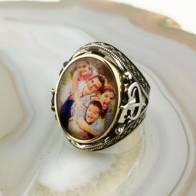 925 Ayar Gümüş Elif Vav İşlemeli Resimli Yüzük