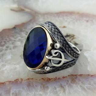 925 Ayar Gümüş Elif Vav İşlemeli Mavi Taşlı Erkek Yüzük