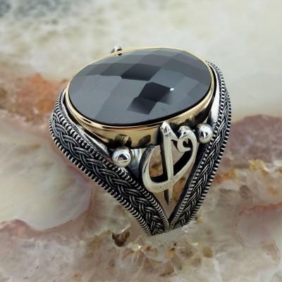 925 Ayar Gümüş Elif Vav İşlemeli Siyah Taşlı Erkek Yüzük